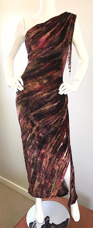 Beautiful Vintage Bob Mackie One Shoulder Silk Velvet Cut Out 1990s Grecian Gown 9