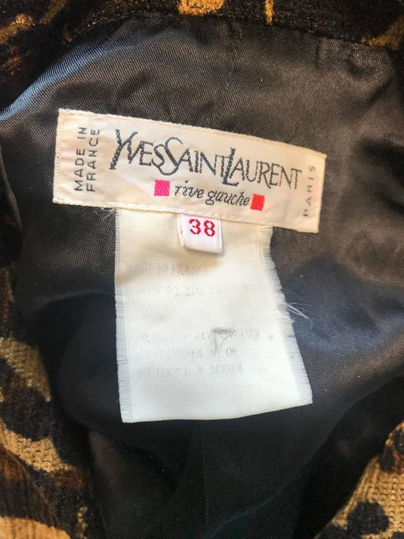 Iconic Yves Saint Laurent 1990s Leopard Print Chenille Vintage 90s Jacket Blazer For Sale 5