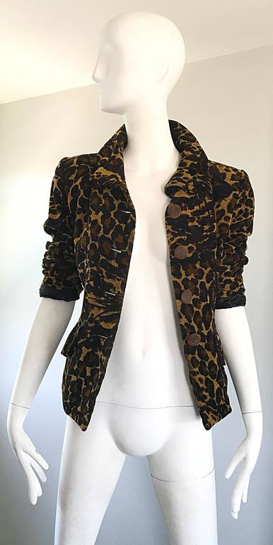 Women's Iconic Yves Saint Laurent 1990s Leopard Print Chenille Vintage 90s Jacket Blazer For Sale