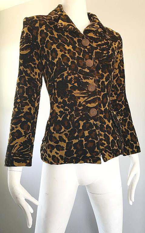 Iconic Yves Saint Laurent 1990s Leopard Print Chenille Vintage 90s Jacket Blazer For Sale 2