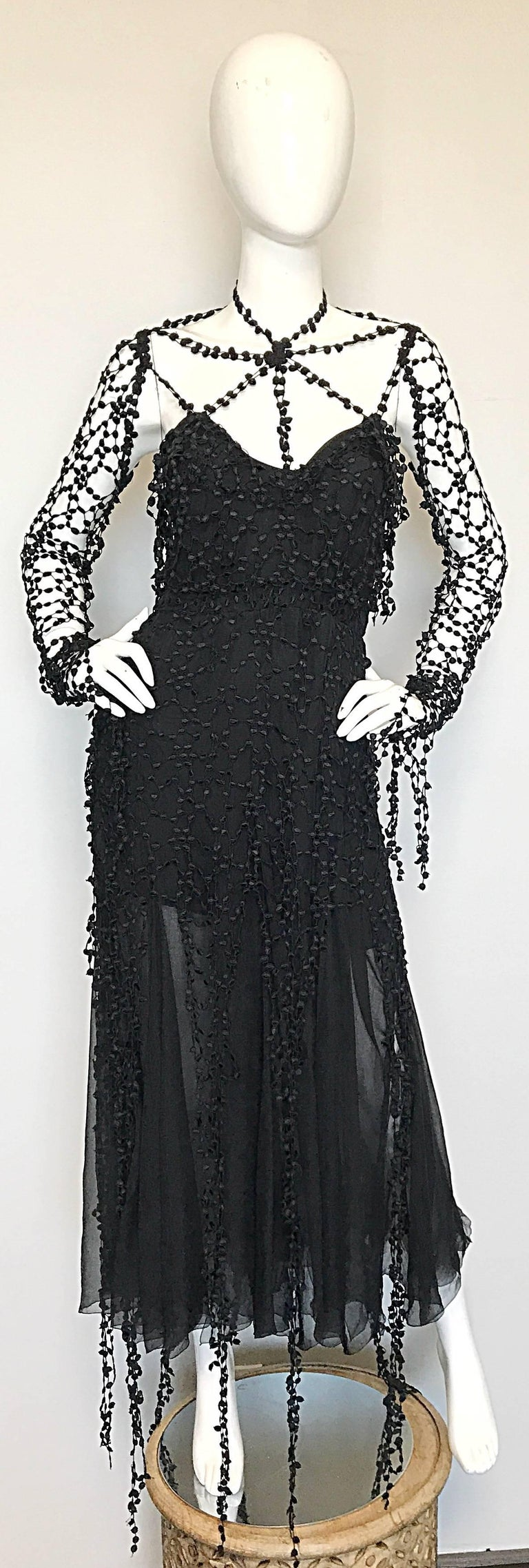 Sensational vintage 1990s KARL LAGERFELD Couture black silk chiffon 'Spiderweb' goth evening dress! Features hand crochet overlay throughout the body, skirt and sleeves. Hidden zipper up the side with multiple hook-and-eye closure. Hidden