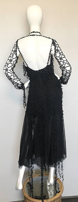 1990s Karl Lagerfeld Vintage ' Spiderweb ' Black Silk Chiffon Vintage 90s Dress In Excellent Condition For Sale In Chicago, IL