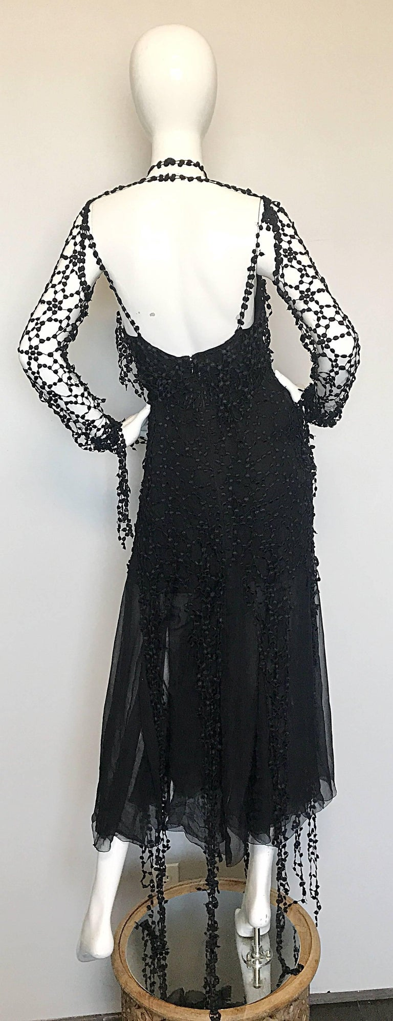 1990s Karl Lagerfeld Vintage ' Spiderweb ' Black Silk Chiffon Vintage 90s Dress In Excellent Condition For Sale In San Francisco, CA