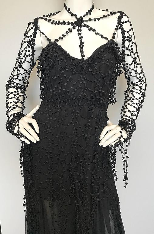 Women's 1990s Karl Lagerfeld Vintage ' Spiderweb ' Black Silk Chiffon Vintage 90s Dress For Sale