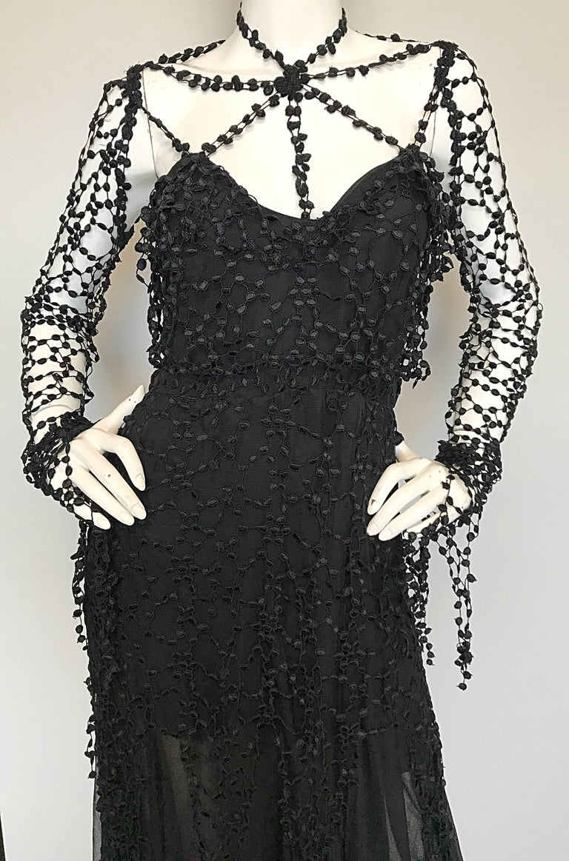 1990s Karl Lagerfeld Vintage ' Spiderweb ' Black Silk Chiffon Vintage 90s Dress 4