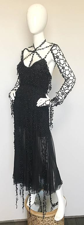 1990s Karl Lagerfeld Vintage ' Spiderweb ' Black Silk Chiffon Vintage 90s Dress For Sale 1