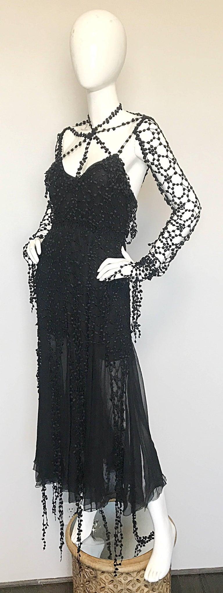 1990s Karl Lagerfeld Vintage ' Spiderweb ' Black Silk Chiffon Vintage 90s Dress For Sale 1