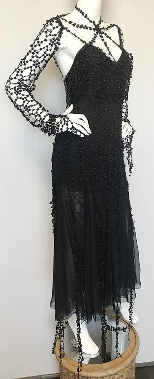1990s Karl Lagerfeld Vintage ' Spiderweb ' Black Silk Chiffon Vintage 90s Dress For Sale 2
