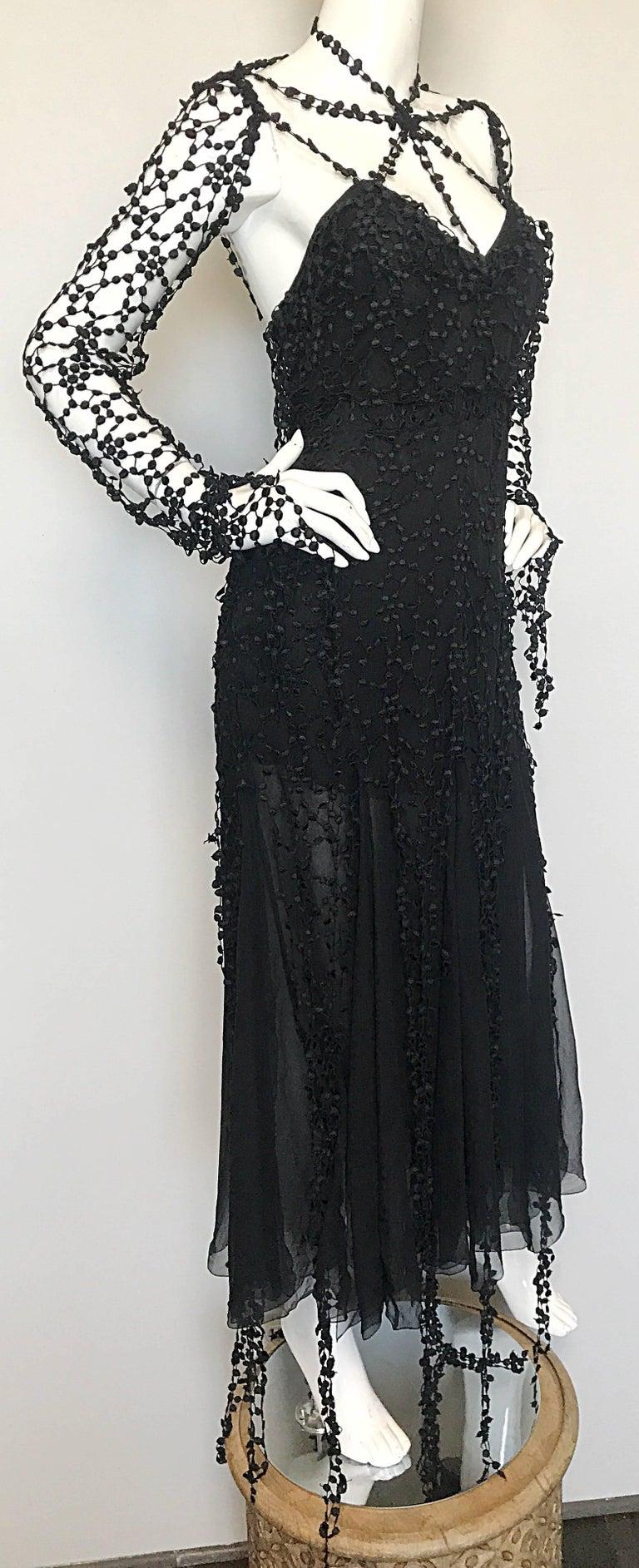 1990s Karl Lagerfeld Vintage ' Spiderweb ' Black Silk Chiffon Vintage 90s Dress 6