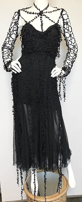 1990s Karl Lagerfeld Vintage ' Spiderweb ' Black Silk Chiffon Vintage 90s Dress For Sale 3