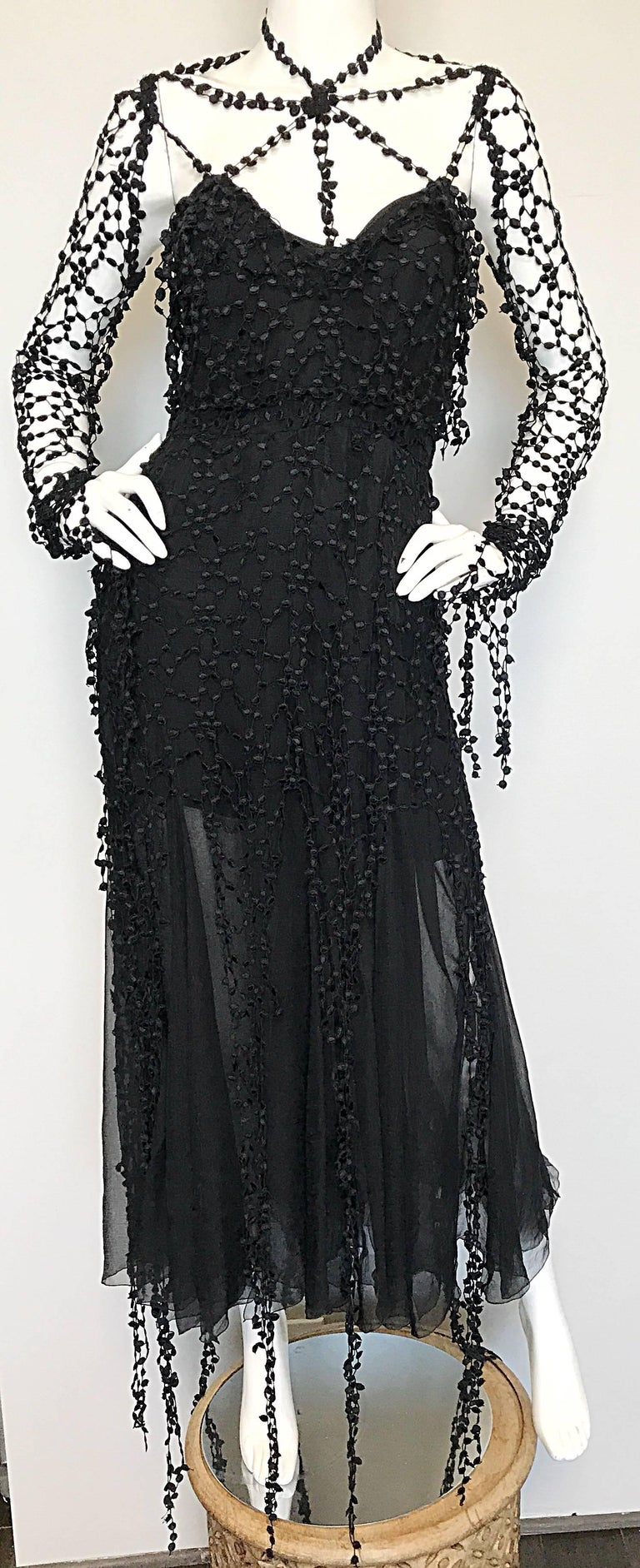 1990s Karl Lagerfeld Vintage ' Spiderweb ' Black Silk Chiffon Vintage 90s Dress 7