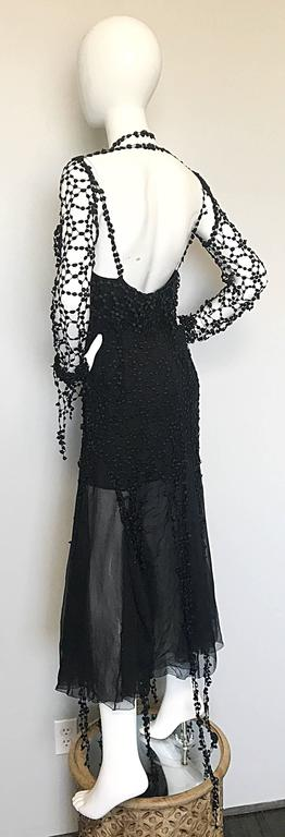 1990s Karl Lagerfeld Vintage ' Spiderweb ' Black Silk Chiffon Vintage 90s Dress For Sale 4