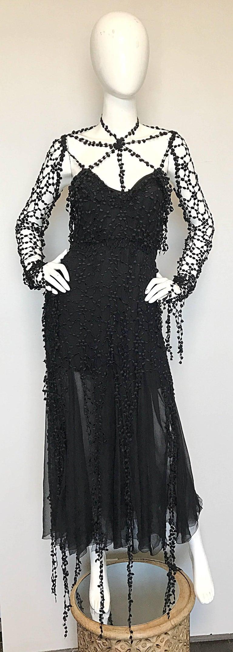 1990s Karl Lagerfeld Vintage ' Spiderweb ' Black Silk Chiffon Vintage 90s Dress 9