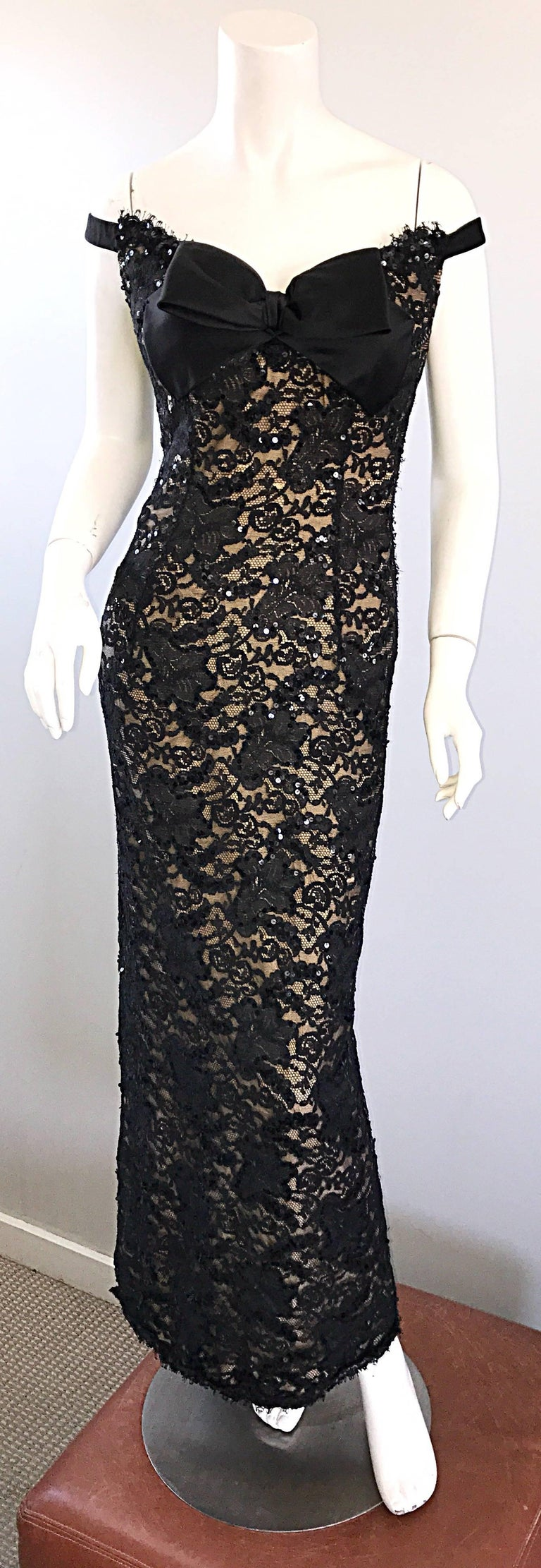 Vintage Bob Mackie Black Lace Sequin Size 8 1990s 90s Evening Off Shoulder Gown  For Sale 1