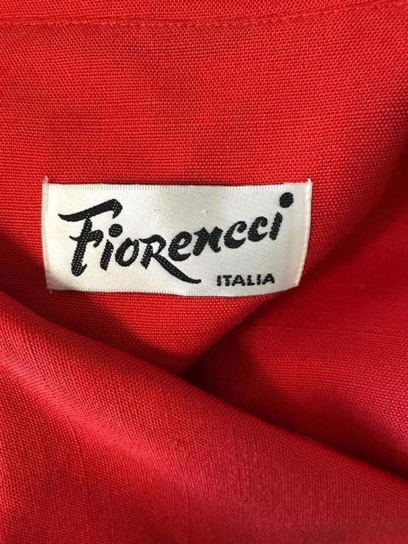Fiorencci 1990s Does 1950s Burnt Orange + Gold Cotton Linen Vintage Wiggle Dress For Sale 5