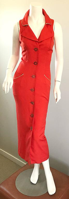 Chic Italian vintage FIORENCI burnt orange and gold 90s does 50s vintage wiggle dress! Soft cotton and linen blend. Chic beaded buttons up the front. Pockets at each side of the hips. Wonderful flattering fit in a beautiful vibrant orange color.