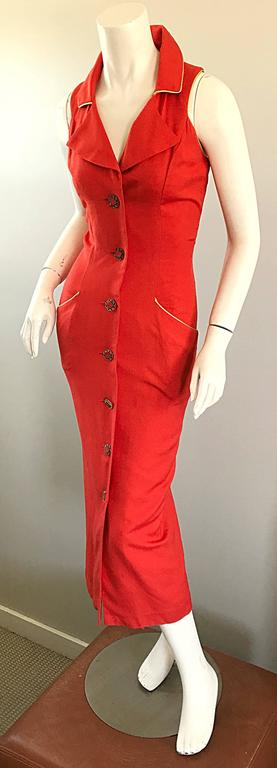 Fiorencci 1990s Does 1950s Burnt Orange + Gold Cotton Linen Vintage Wiggle Dress In Excellent Condition For Sale In Chicago, IL