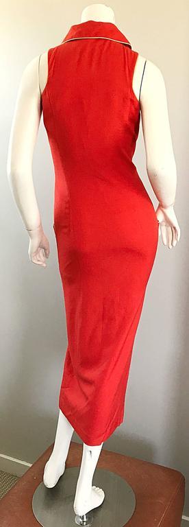 Women's Fiorencci 1990s Does 1950s Burnt Orange + Gold Cotton Linen Vintage Wiggle Dress For Sale