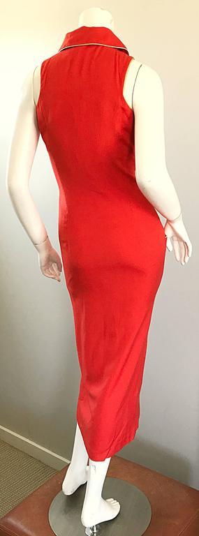Fiorencci 1990s Does 1950s Burnt Orange + Gold Cotton Linen Vintage Wiggle Dress For Sale 3