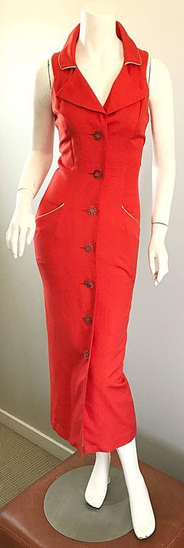 Fiorencci 1990s Does 1950s Burnt Orange + Gold Cotton Linen Vintage Wiggle Dress For Sale 4