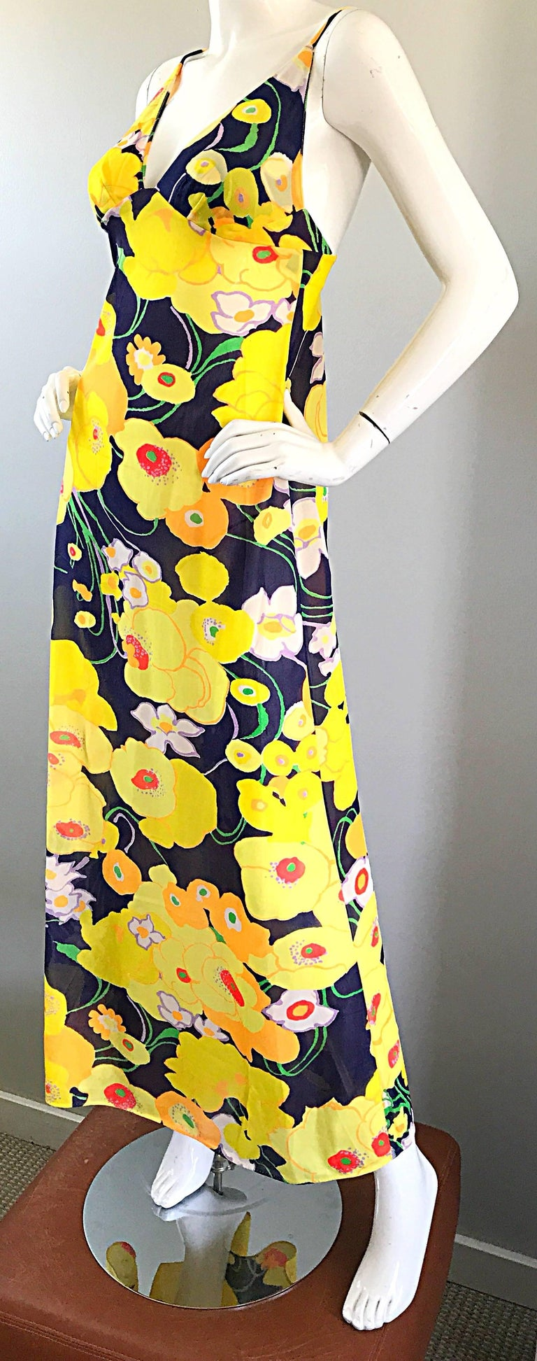 Amazing 1970s Christian Dior Flower Print Vintage 70s Maxi Dress and Jacket Set For Sale 1