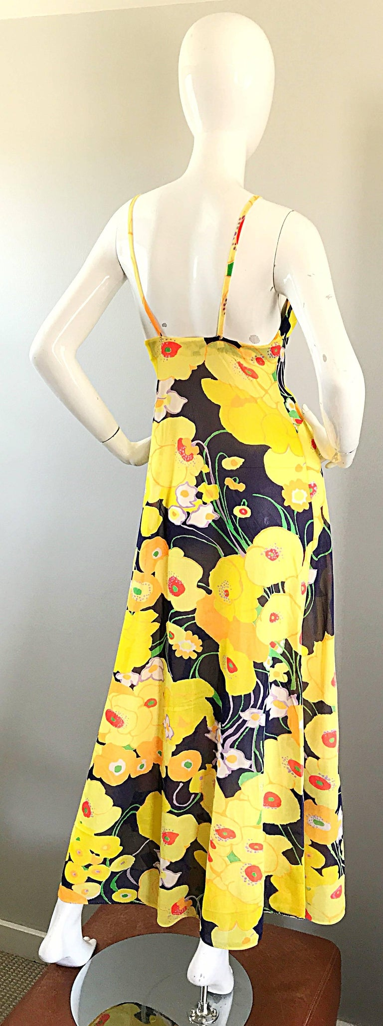 Amazing 1970s Christian Dior Flower Print Vintage 70s Maxi Dress and Jacket Set For Sale 2