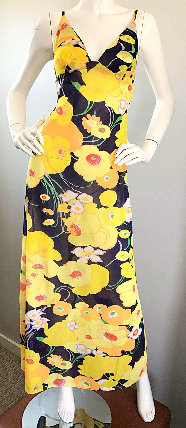 Amazing 1970s Christian Dior Flower Print Vintage 70s Maxi Dress and Jacket Set For Sale 3