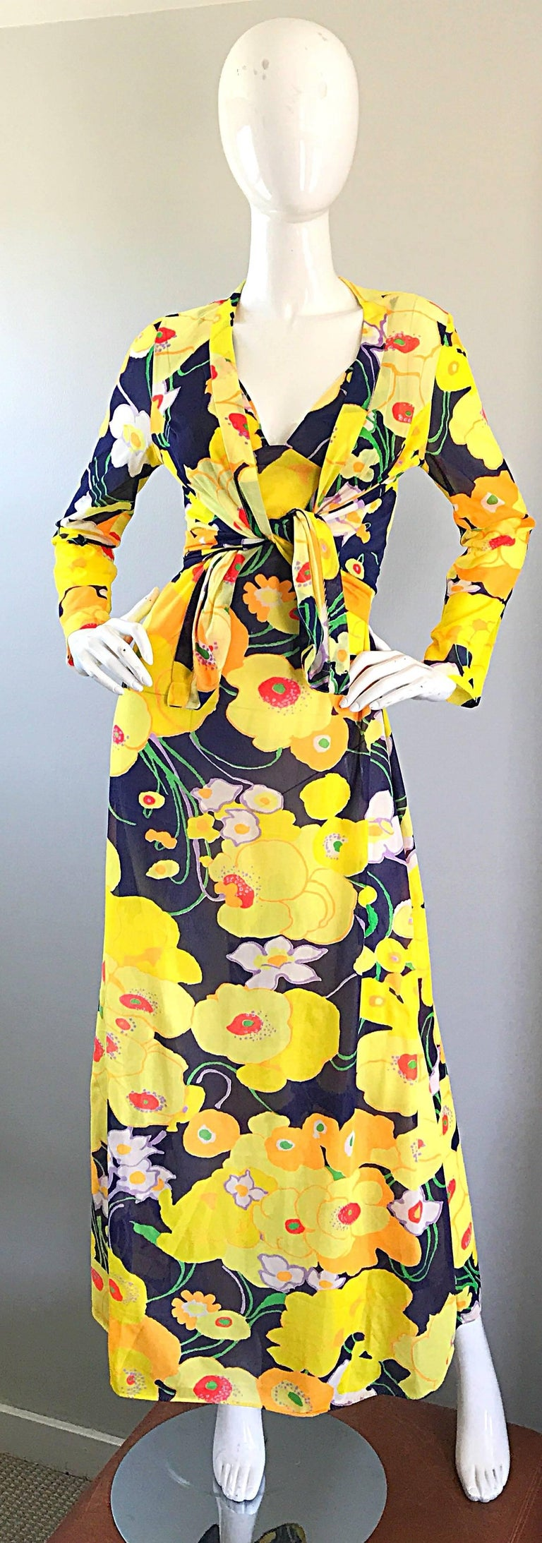 Amazing 1970s Christian Dior Flower Print Vintage 70s Maxi Dress and Jacket Set For Sale 4