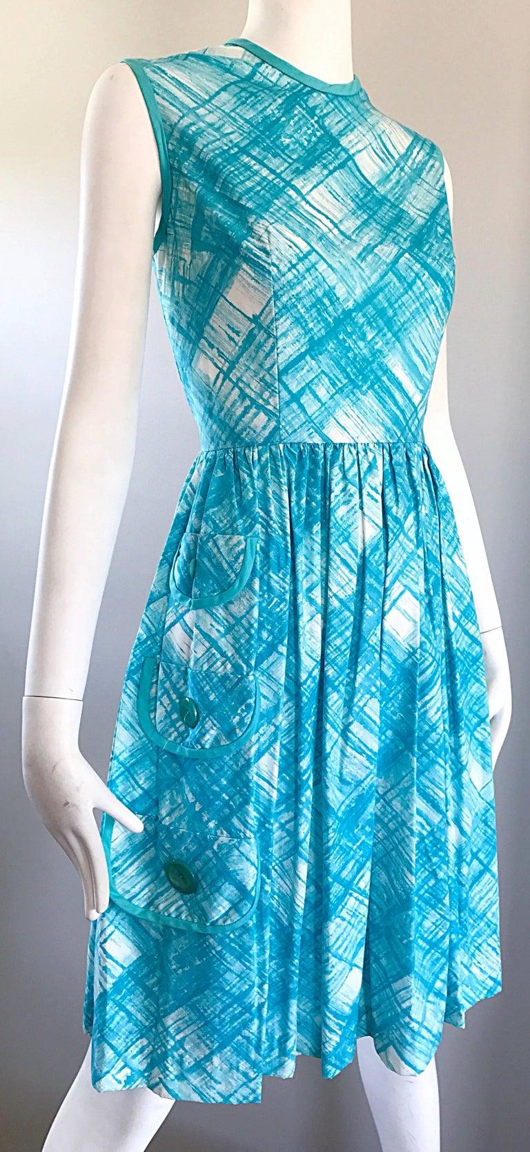 1950s Turquoise Blue And White Diagonal Plaid Cotton