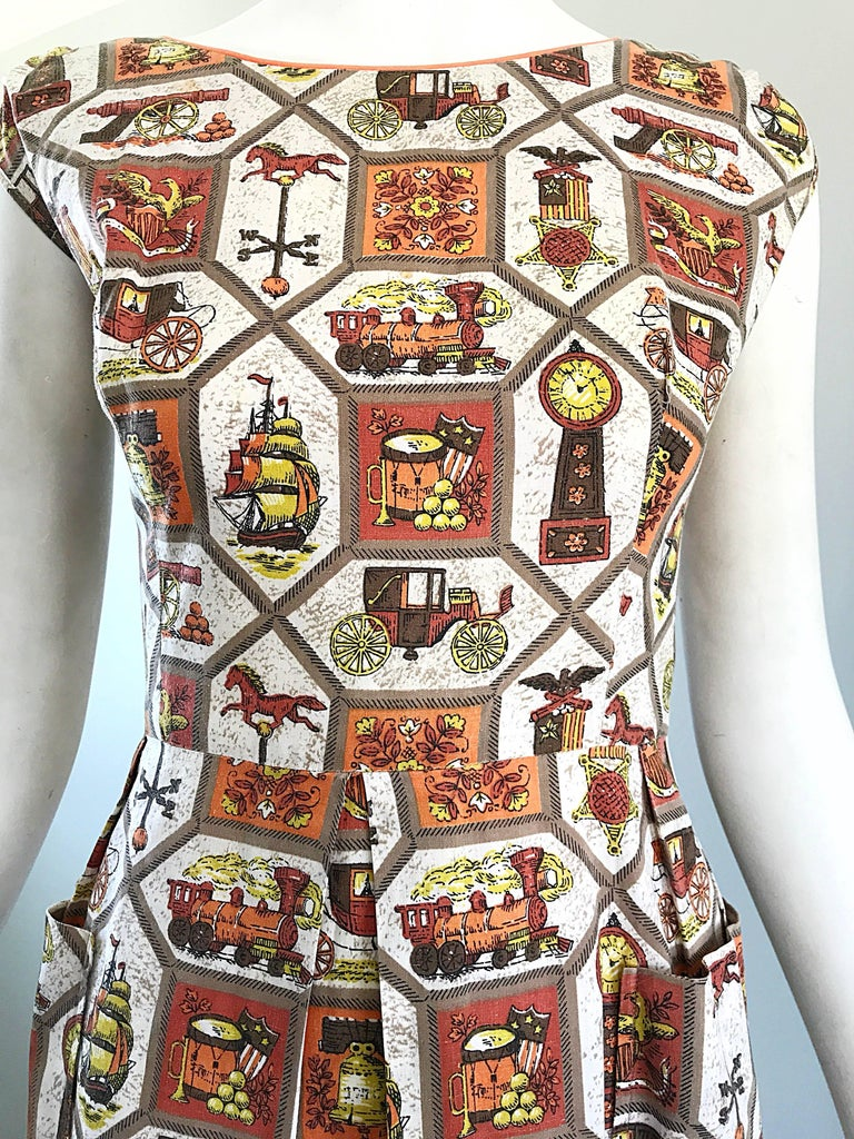 Brown Rare 1950s Larger Plus Size Train + Horse + Carriage Novelty Print Vintage Dress For Sale