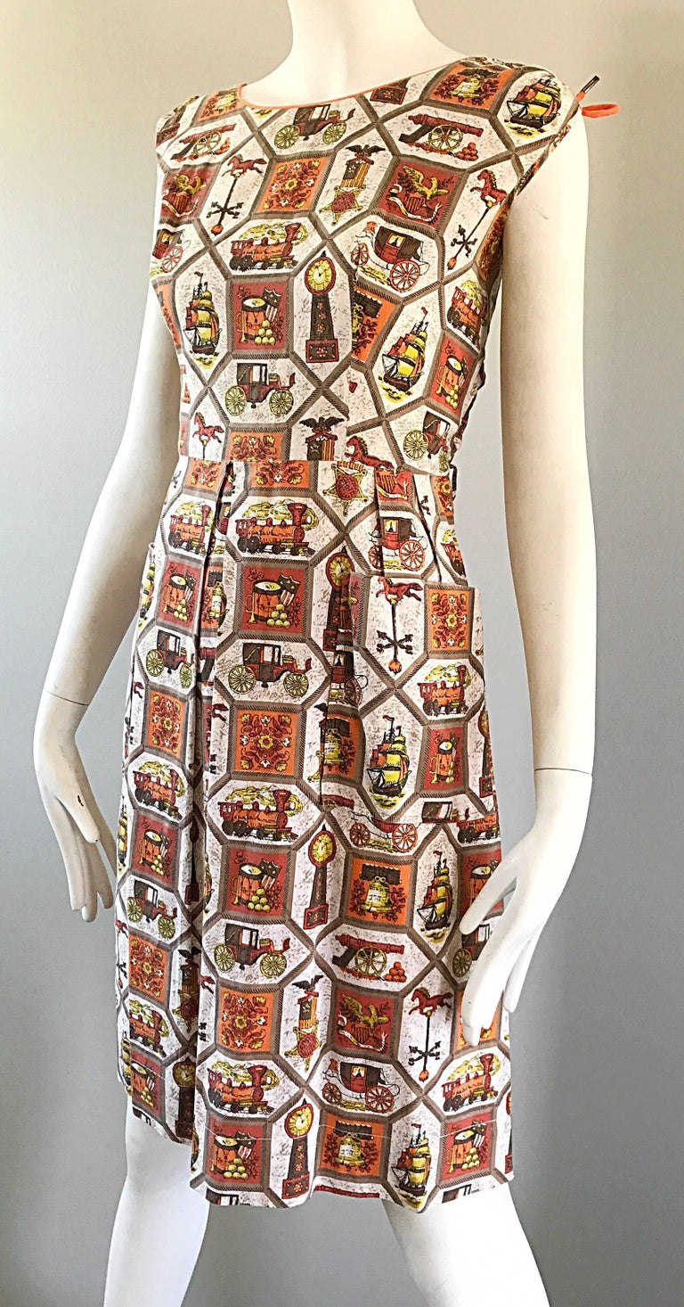 Rare 1950s Larger Plus Size Train + Horse + Carriage Novelty Print Vintage Dress In Excellent Condition For Sale In Chicago, IL