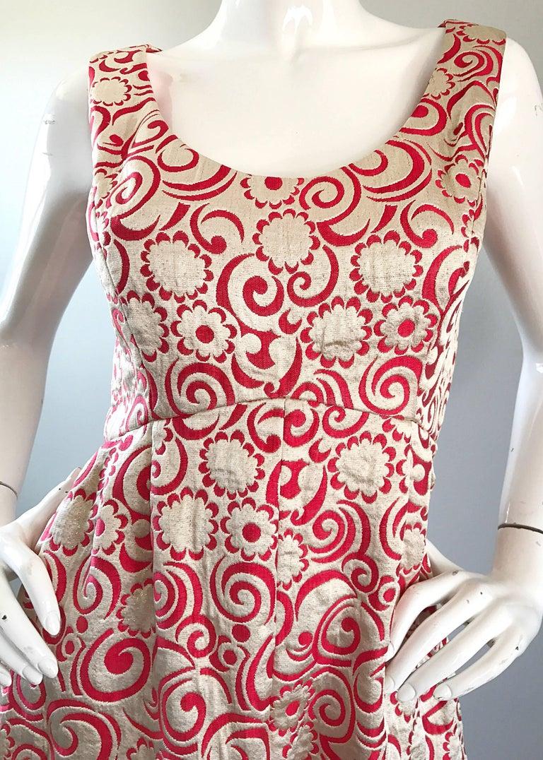 Ceil Chapman 1960s Raspberry Pink + Gold Silk Brocade Flower Vintage 60s Gown  3