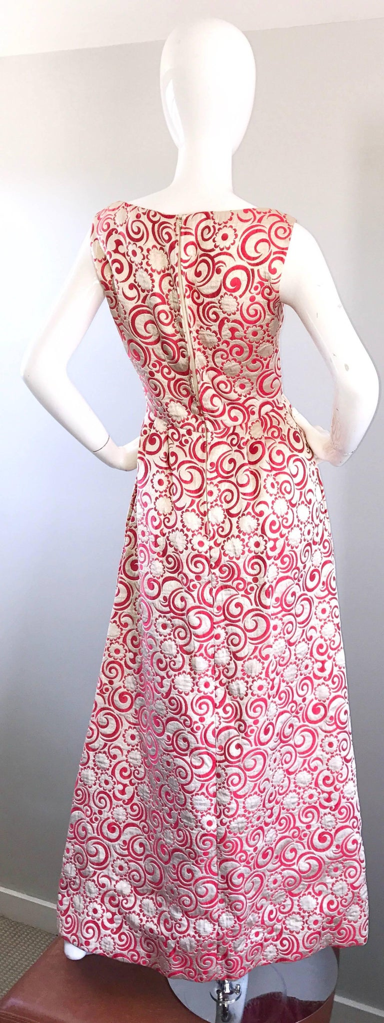 Women's Ceil Chapman 1960s Raspberry Pink + Gold Silk Brocade Flower Vintage 60s Gown  For Sale