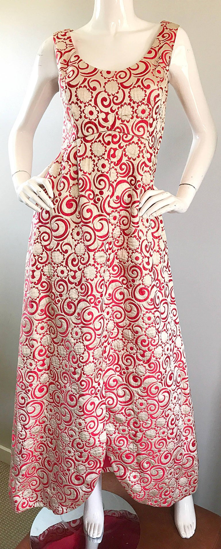 Ceil Chapman 1960s Raspberry Pink + Gold Silk Brocade Flower Vintage 60s Gown  For Sale 1