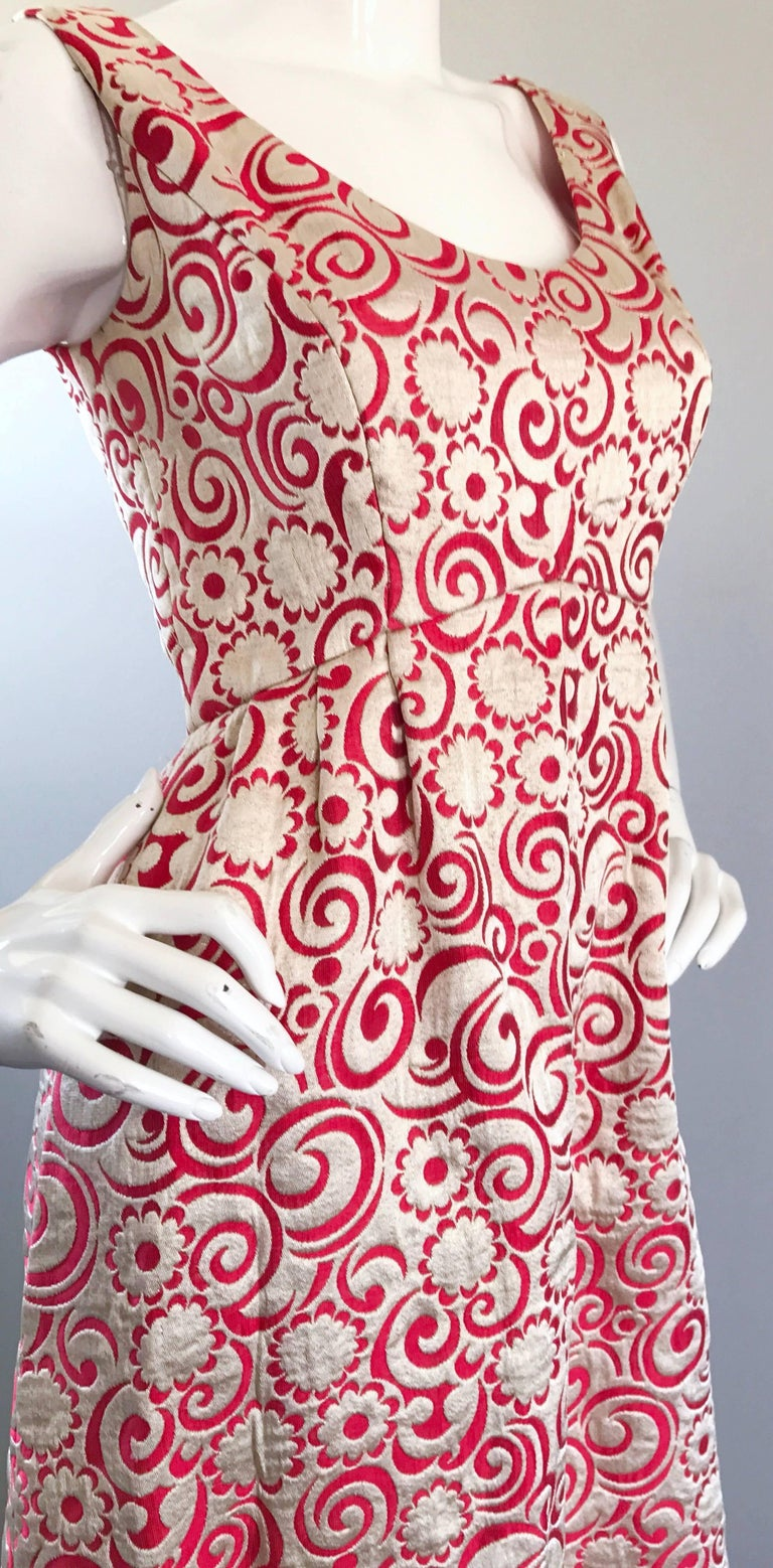 Ceil Chapman 1960s Raspberry Pink + Gold Silk Brocade Flower Vintage 60s Gown  For Sale 2