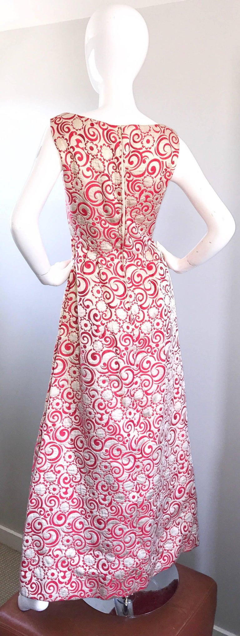 Ceil Chapman 1960s Raspberry Pink + Gold Silk Brocade Flower Vintage 60s Gown  For Sale 3