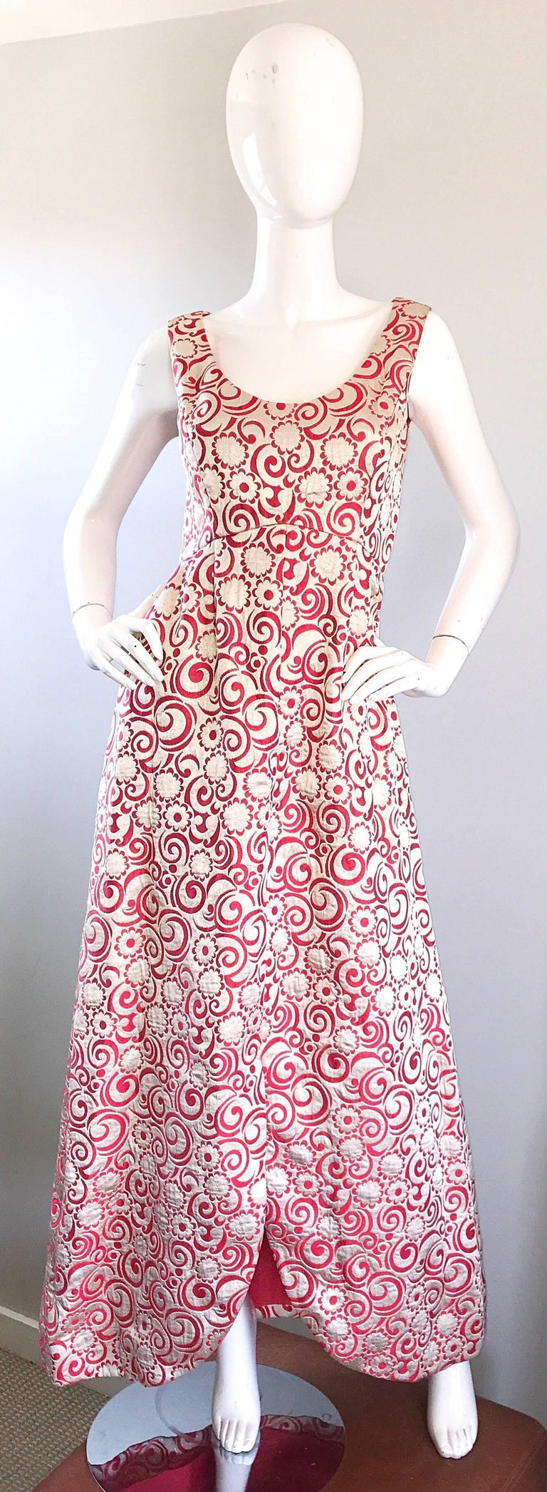 Ceil Chapman 1960s Raspberry Pink + Gold Silk Brocade Flower Vintage 60s Gown  For Sale 4
