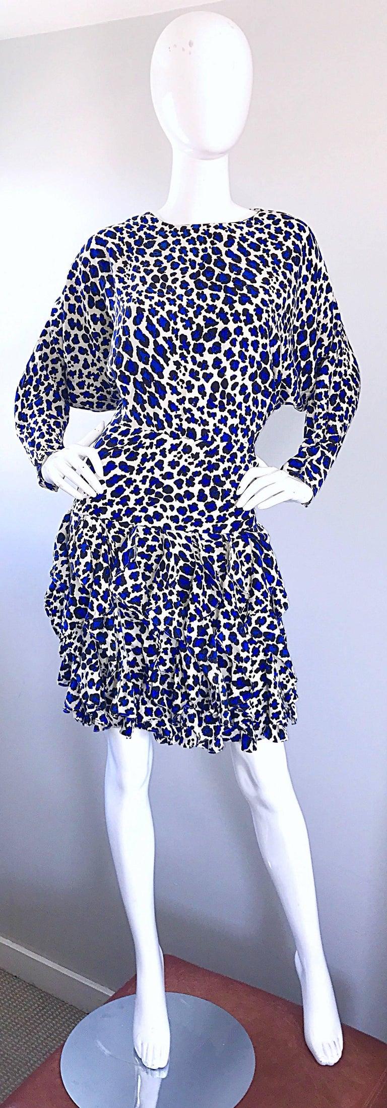 Vintage Christian Dior 1980s Blue Leopard Print Silk