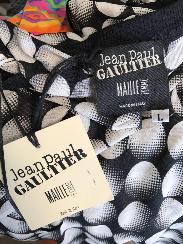 Jean Paul Gaultier New 1990s Black and White Size Large One Shoulder Op Art Top For Sale 6