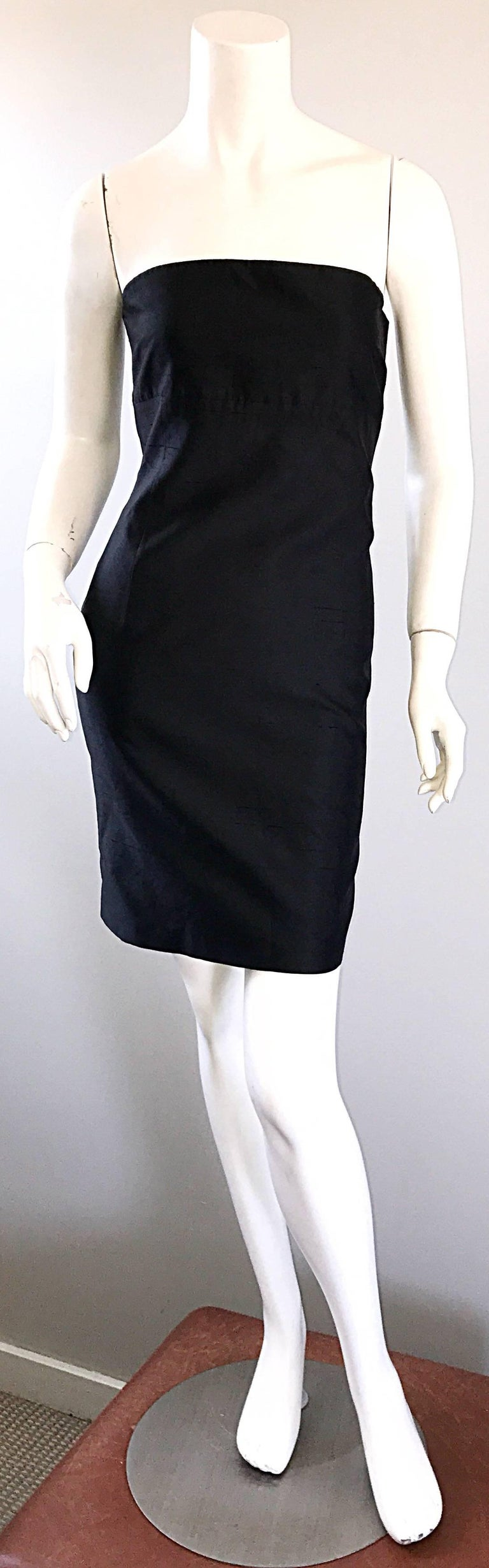 1990s Michael Kors Collection Size 2 Black Silk Shantung Strapless Vintage Dress 2