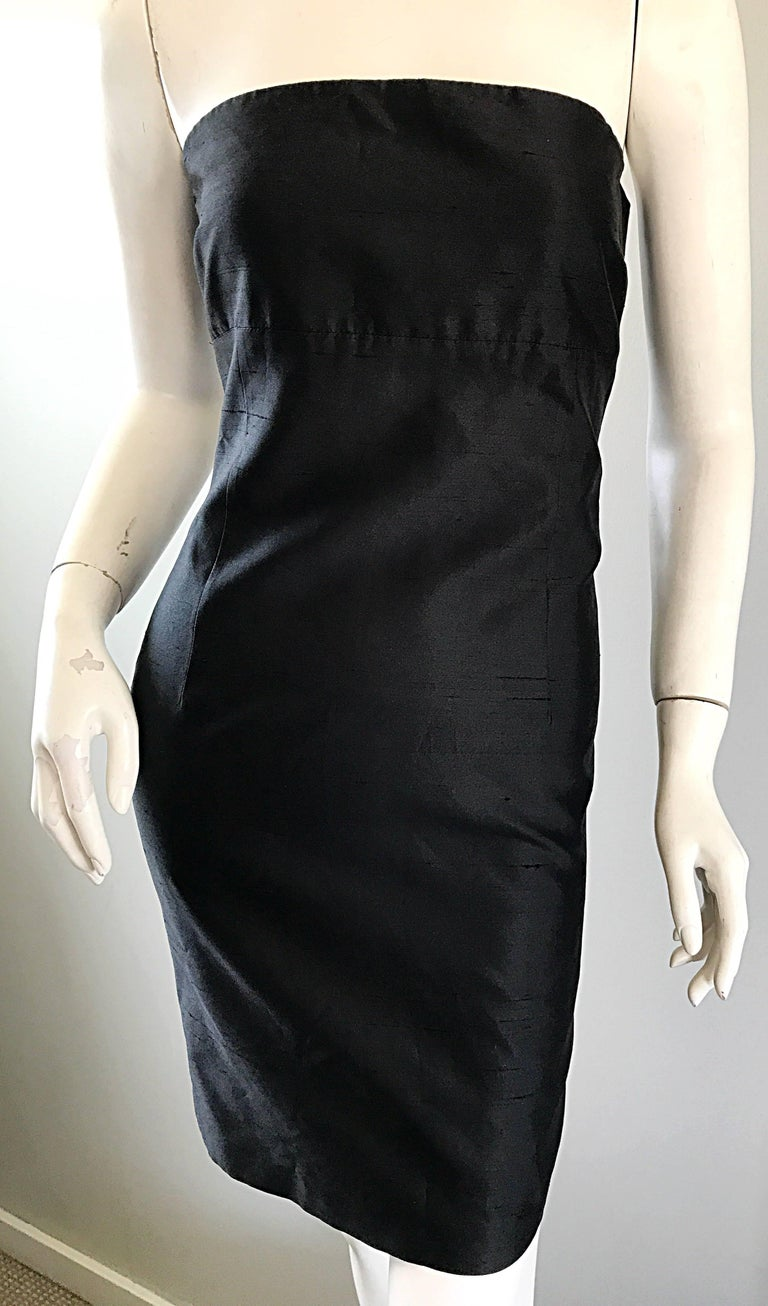 1990s Michael Kors Collection Size 2 Black Silk Shantung Strapless Vintage Dress 4