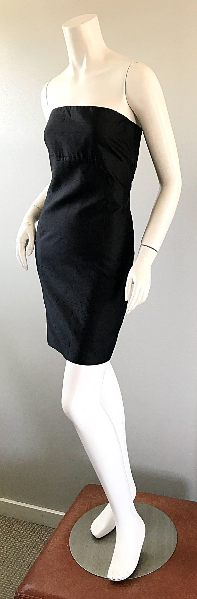 1990s Michael Kors Collection Size 2 Black Silk Shantung Strapless Vintage Dress 3