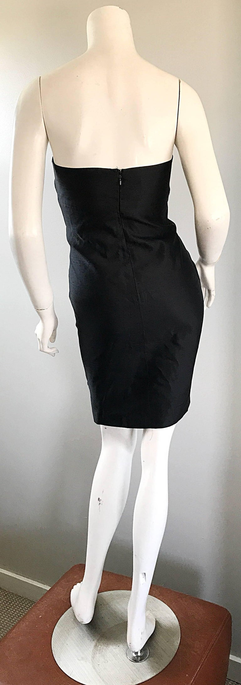 1990s Michael Kors Collection Size 2 Black Silk Shantung Strapless Vintage Dress 5