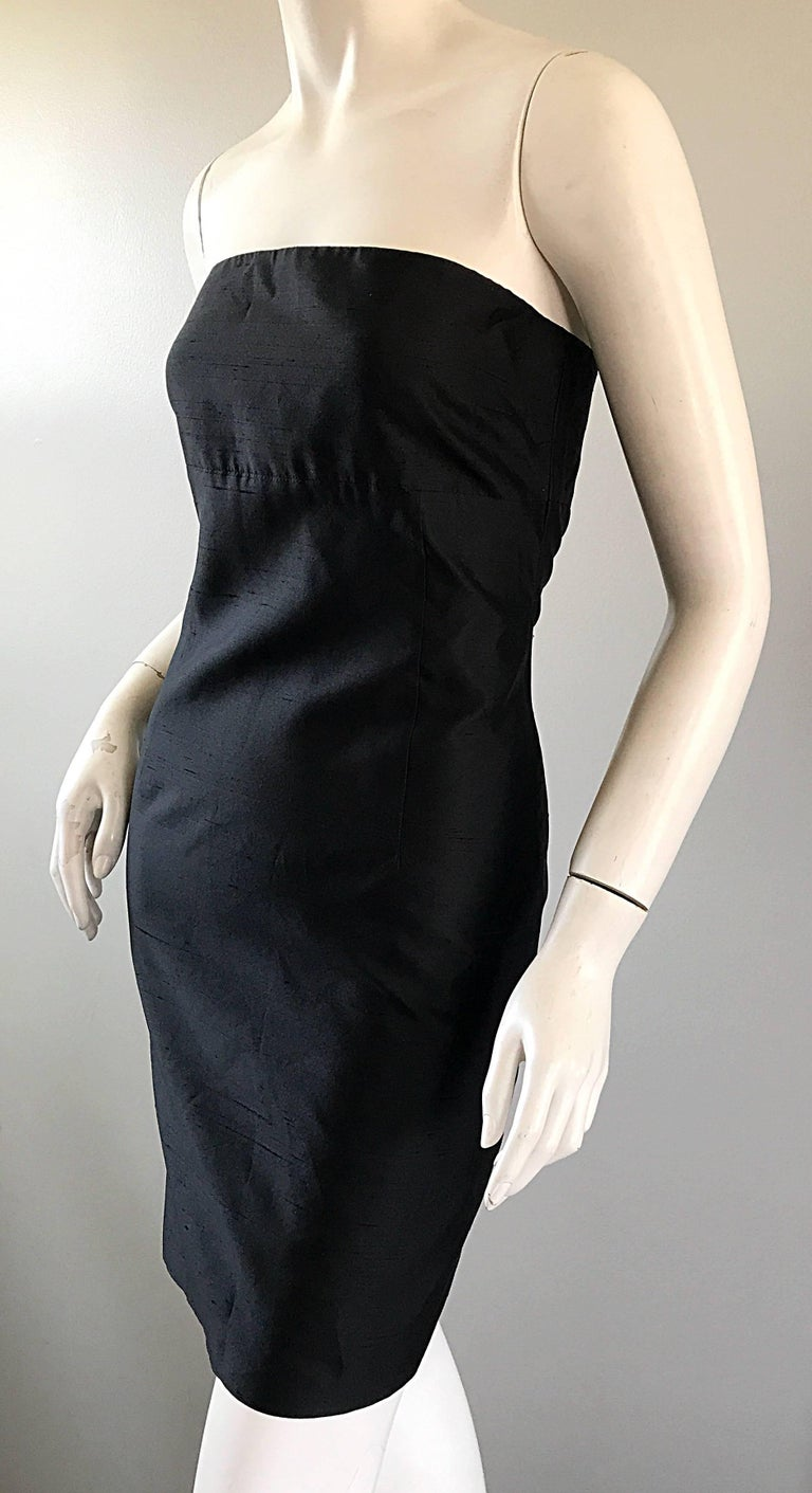 1990s Michael Kors Collection Size 2 Black Silk Shantung Strapless Vintage Dress 6