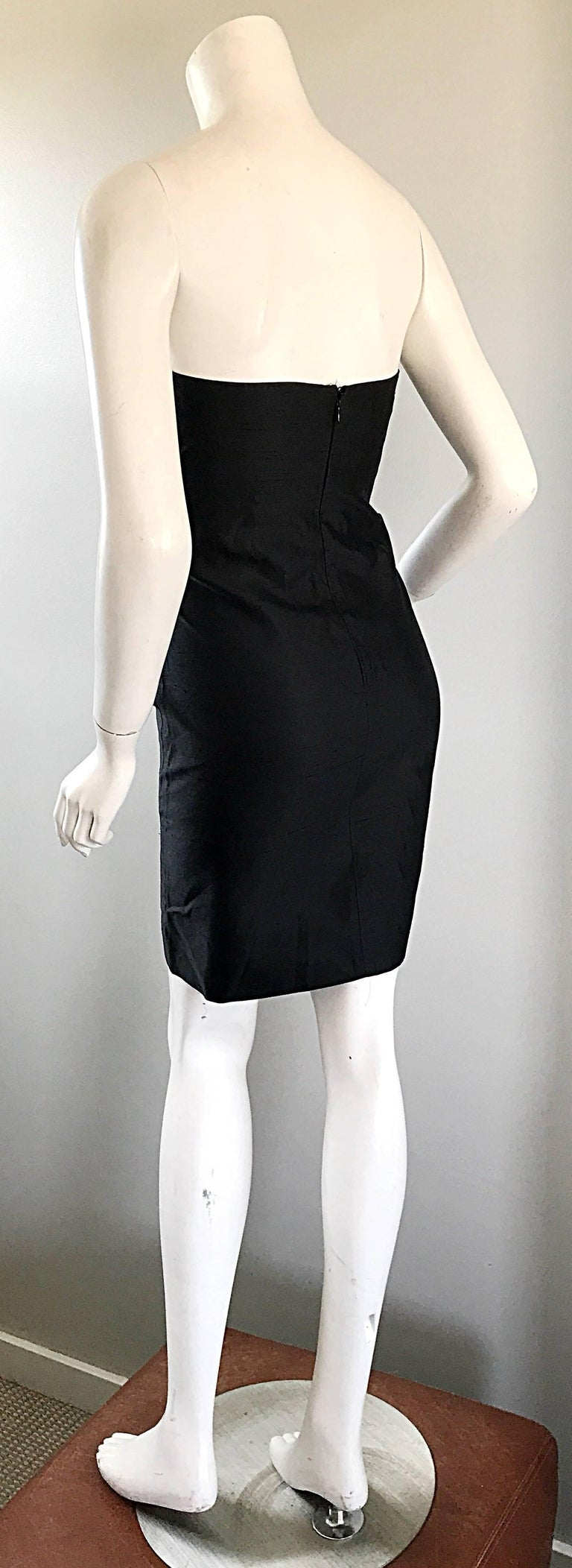 1990s Michael Kors Collection Size 2 Black Silk Shantung Strapless Vintage Dress 7