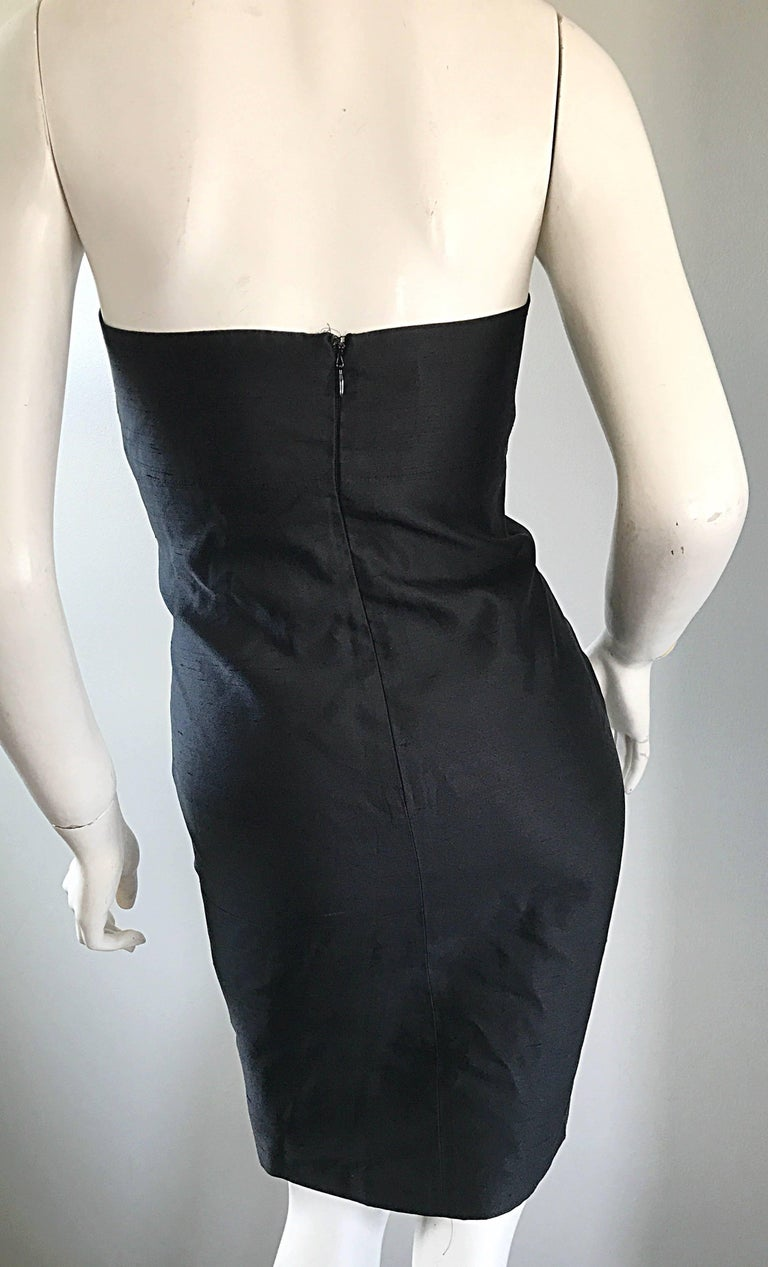 1990s Michael Kors Collection Size 2 Black Silk Shantung Strapless Vintage Dress 8