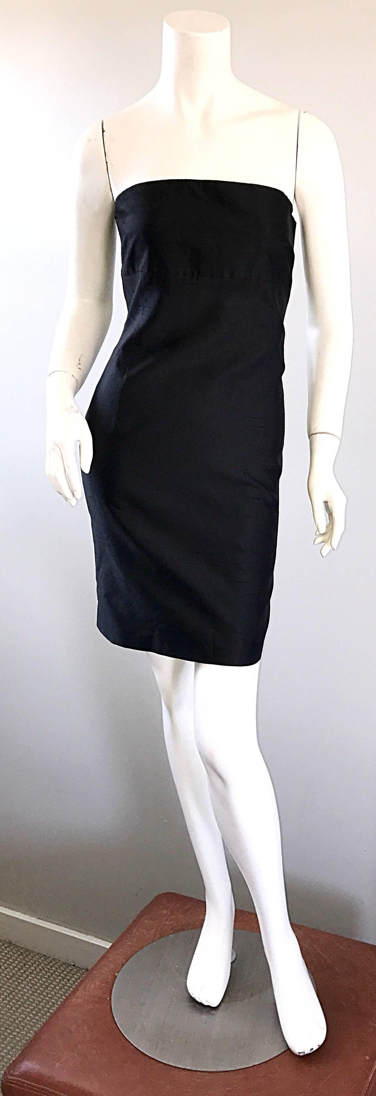 1990s Michael Kors Collection Size 2 Black Silk Shantung Strapless Vintage Dress 9