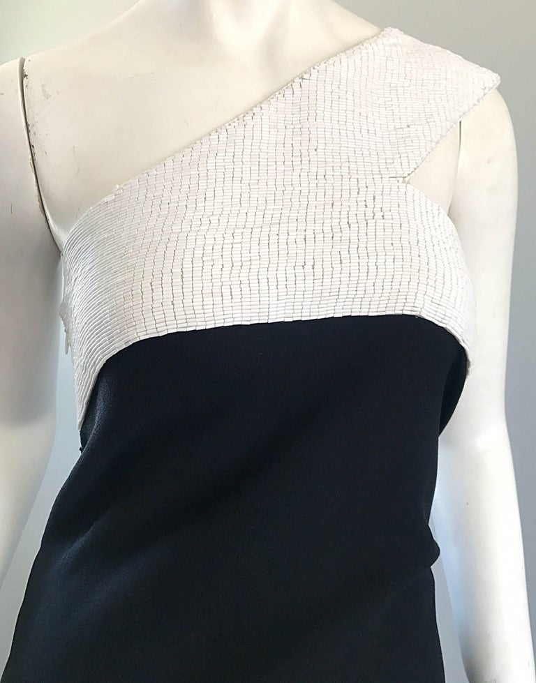 Vintage Jackie Rogers 1990s Black and White One Shoulder Beaded 90s Evening Gown In Excellent Condition In Chicago, IL
