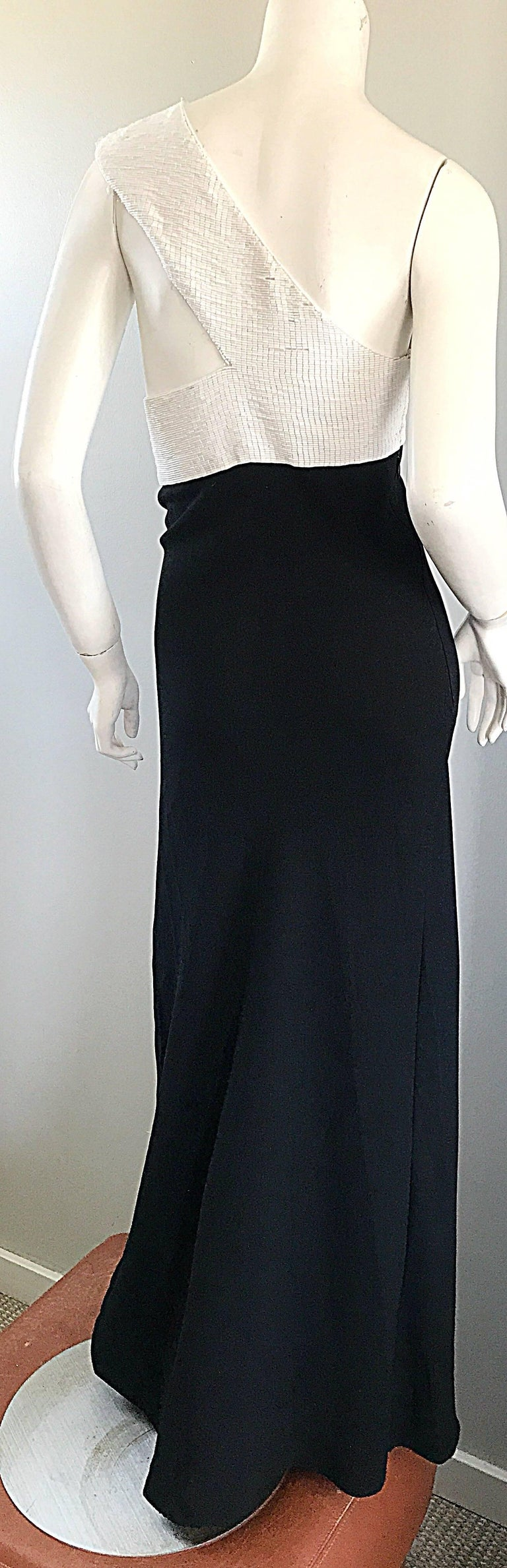 Women's Vintage Jackie Rogers 1990s Black and White One Shoulder Beaded 90s Evening Gown