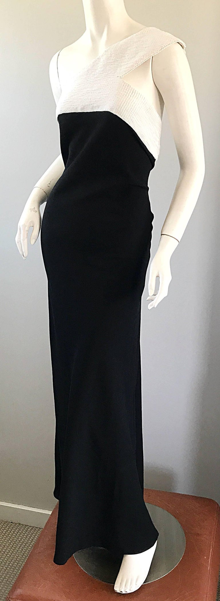 Vintage Jackie Rogers 1990s Black and White One Shoulder Beaded 90s Evening Gown 1